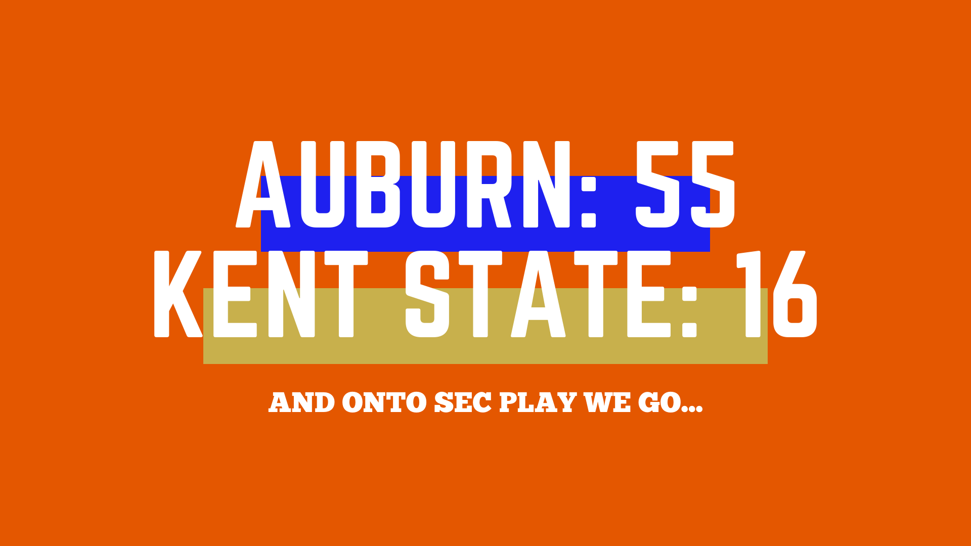 Auburn runs all over Kent State, heads into SEC play 3-0