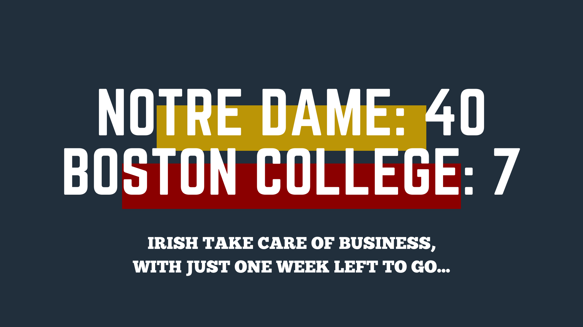 Notre Dame pulls away from the Eagles, moves to 9-2 with one week left